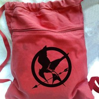 Hunger Games Backpack Red Drawstring Mockingjay Canvas Book Bag | bagnabitbags - Bags & Purses on ArtFire