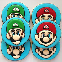 Mario and Luigi Custom Cookies