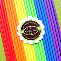 "6 Inch Cake Pop and Lollipop Sticks - BOYS RAINBOW -  6"" Plastic Sticks (100 count)"