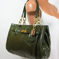 Coach Patent Leather Chelsea Jayden Carryall Satchel Bag Purse tote 17855 Olive