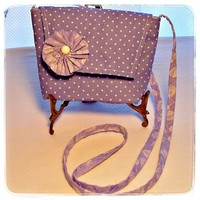 Purple Stadium Purse with Crossbody Strap White Polka Dots Handmade