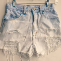 "Bleached High Waisted Denim Shorts Boho Hipster 26"" Waist"