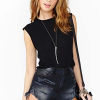 Nasty Gal Muscle Beach Crop Tee - Black
