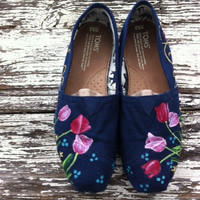 Custom hand painted TOMS, Tulips for Springtime