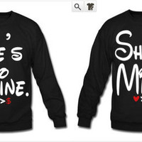 He's Mine She's Mine Couples Long Sleeve Shirt