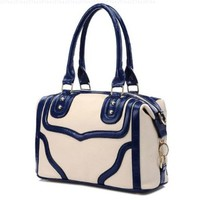 MG Collection LACOLE Beige and Blue Doctor Style Office Handbag / Shoulder Bag:Amazon:Clothing