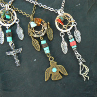 CHOOSE ONE tribal dreamcatcher necklace totem thunderbird kokopelli in tribal native gypsy hippie tribal fusion boho hipster style
