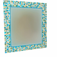 Custom Mosaic Mirror, Greens and Teals
