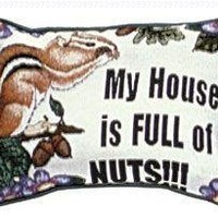 "Set of 2 ""Nut House"" Squirrel Decorative Throw Pillows 9"" x 12"""