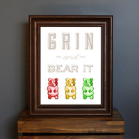 Gummy Bear Typography Art Print  Grin and Bear It  by CisforColor