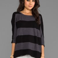 Michael Stars Stripe Wide Neck Hi-Low Tee in Oxide from REVOLVEclothing.com