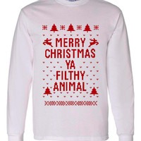 "Great ""Ugly Christmas Sweater"" Crew Neck ""Merry Christmas Ya Filthy Animal"" AWESOME XMAS Shirt MUST Have Holiday Shirt Great Shirt"
