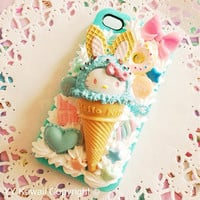 Custom Decoden Kitty Ice Cream Cone And Sweets Phone by YYKawaii