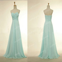 tiffany blue prom dresses, long prom dress, chiffon prom dress, tiffany blue bridesmaid dress, evening dress,  BE0254