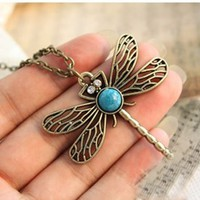Vintage Quirky Dragonfly Blue Stone Necklace
