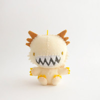 Roaring white dragon plush with big teeth and golden details