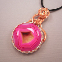 Druzy Agate Pendant Hot Pink Druzy Agate Wire by UptightWanda