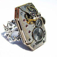 SteamPunk Ring Watch Movement Gruen Guild by InsomniaStudios