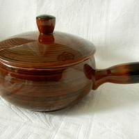 Brown Covered Casserole Dish (Soup Tureen) with Handle for Serving or Bakeware