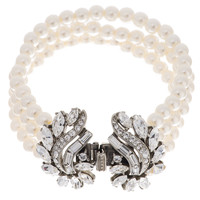Crystal Garland and Pearl Bracelet  | Bridal Bracelet | 30070117