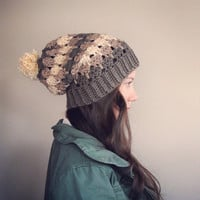 Women's Slouchy Crochet Beanie - Shades of Neutral Taupe mix