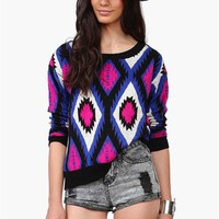 Bright Tribal Sweater in Blue/Pink