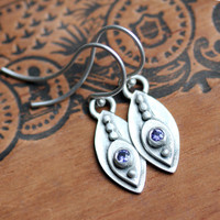 Silver feather earrings - purple sapphire - tribal - recycled sterling silver - marquise shape - dangle earrings