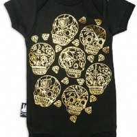 Six Bunnies Sugar Skulls Black & Gold One Piece