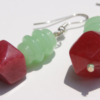 Mint Green Lampwork and Raspberry Quartz Bead Earrings