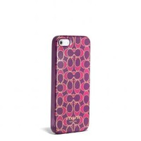Coach :: New Iphone 5 Case In Poppy Signature Metallic Outline