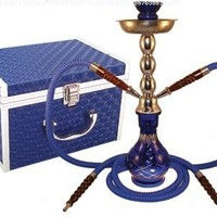 "Hookah Diamond Cut Blue 2 Hose 17"" with Case"