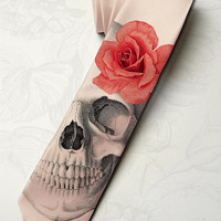 Men's gothic wedding necktie. Dia de los muertos necktie with red rose. Horror skeleton hipster necktie. Halloween party pink necktie.