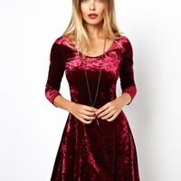 ASOS | ASOS '90s Fit And Flare Dress In Velvet at ASOS