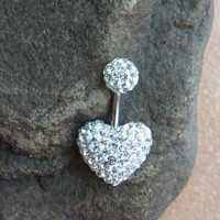Pave Clear crystal LOVE HEART belly ring