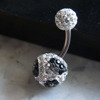 TIGER Pave crystal balls belly ring (white and black crystal)