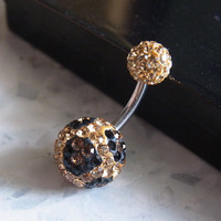 TIGER Pave crystal balls belly ring (lt. colorado and black crystal)
