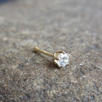 14k solid gold with 3 mm CZ diamond claw setting nose pin