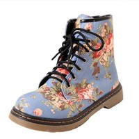 Ladies Fashion Floral Print Lace Up Dr Martens Ankle Boots