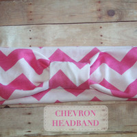 Womens Headband , Pink and white Chevron, turban ,boho Headband, hair Wrap, Headband for women and teens, adult hair accessories, hair ban