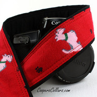dSLR Camera Strap, Scottie Dog, Scottish Terrier, SLR, Lt. Pink 128