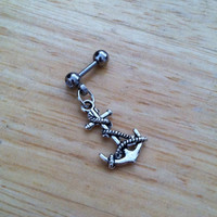 Tragus Piercing - Anchor and Rope Tragus Earring - Tragus Barbell, Tragus Earring