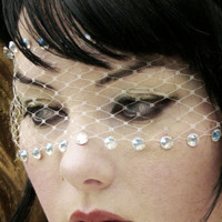 Romantic Ivory Lace Bandeau Mask w/ Swarovski Crystals & French Netting - by Moonshine Baby