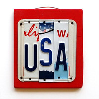 USA OOAK License Plate Art Christmas Gift Unique by UniquePl8z