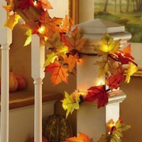 Fall Leaves Lighted Harvest Floral Garland Decoration By Collections Etc