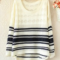 ROUND NECK LONG SLEEVE HOLLOW OUT COLOR STRIPED SWEATER