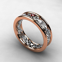 Red sapphire and diamond ring, filigree wedding ring, rose gold wedding, engagement, red sapphire engagement, white gold, filigree, lace