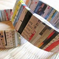 Recycled Paper Striped Bangle by hippiekingdom on Etsy