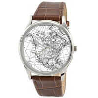 Vintage Map Watch (America) in B/W