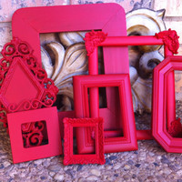Red Empty Collage Frames, Gallery Vintage Frame Set , Red Riding Hood, Upcycled Painted