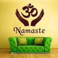 Wall Decal Sticker Decals Hindu Om Namaste Symbol Buddha Indian Word (z1367)